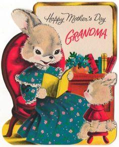 Vintage Greeting Card Bunny Rabbit Flocked UNUSED Grandmother Mothers Day (O280)