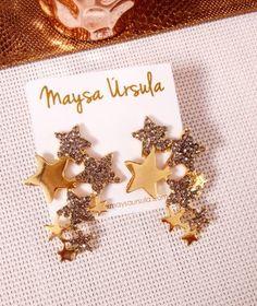 Brinco Noite de Estrelas  Brinco, brinco de estrela, tendência estrelas, verão 2018, acessórios, moda, Style, fashion, fashionismo, brinco médio, look do dia