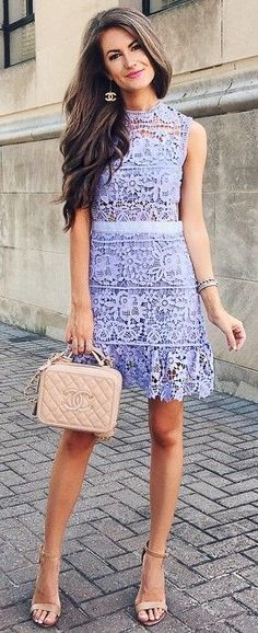 #fall #trending #outfits | Lilac Lace Dress