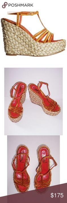 b3057f4e6f54 YSL orange velvet raffia platform sandals Platform sandals with orange  crushed velvet straps for all your