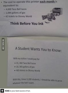 University post and student respond.