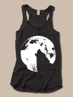 Womens WOLF Howling MOON Boho Tri Blend Tank Top Alternative Apparel 4 Colors Small Medium Large XLarge Racerback