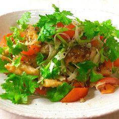 鶏むね肉とパクチーのサラダ/ぷっくりんこ💙➰rei | SnapDish[スナップディッシュ] (ID:4reeza)