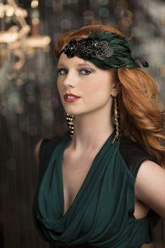 Headpiece, Flapper Style Headband, Great Gatsby Headpiece, Black Beaded Green Feather Headband on Etsy, Great Gatsby Headpiece, 1920s Headpiece, Hairband, Gatsby Headband, Rhinestone Headband, Gatsby Style, Flapper Style, 1920s Flapper, Great Gatsby Party Outfit