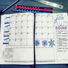 January monthly spread bullet journal bujo