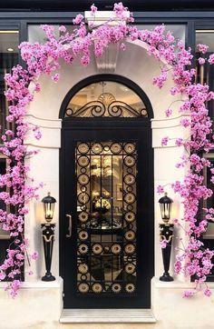 Pink flower arch doorway