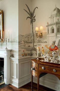 Lovely traditional dining room detail by Rebecca Brandon. Wallpaper mural looks like De Gournay