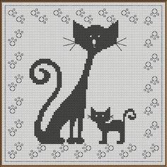 Grille n°01bis Les Chats Rétros - Point de croix. Scrapbooking. Crochet. Photos etc ... Chez novalee02