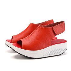 Peep Toe Open Heel Hook Loop Platform Shake Shoes ==