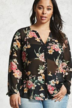 Forever 21+ - A slightly sheer woven shirt with a floral print featuring a V-neckline with button-down closure, long sleeves with button cuffs, and a partially shirred back with a slight high-low hem.
