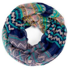 Sole Society Printed Infinity Tribal Scarf ($12) ❤ liked on Polyvore featuring accessories, scarves, bufandas, navy, navy blue infinity scarf, infinity scarf, circle scarf, multi colored infinity scarf and infinity scarves