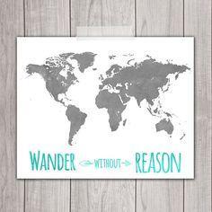 World Map Art Print - 8x10