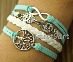 Infinity life tree bracelet - two owls bracelet,antique silver,mint bracelet for girls,vintage style