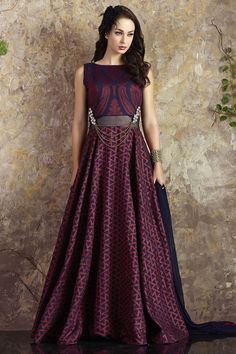Incredibly sophisticated, this blue and pink Aishwarya Design Studio Anarkali Salwar Suit will turn heads everywhere you go! http://www.aishwaryadesignstudio.com/arresting-blue-pink-anarkali-with-interwoven-designs
