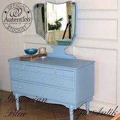 Gustavian Blue sminkebord med kommoder Autentico