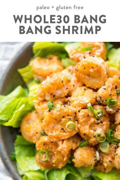 These bang bang shrimp are crispy, tender, spicy, and creamy! They make a fantastic dinner recipe and are paleo, gluten-fr. Whole 30 Meal Plan, Whole 30 Diet, Paleo Whole 30, Whole 30 Meals, Whole 30 Lunch, Clean Eating Vegetarian, Clean Eating Recipes, Clean Eating Snacks, Clean Eating Dinner