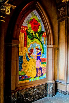 Beauty and the Beast stained glass.