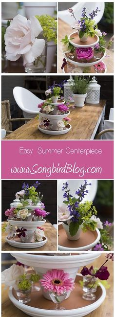 Easy Summer Centerpiece via Songbirdblog