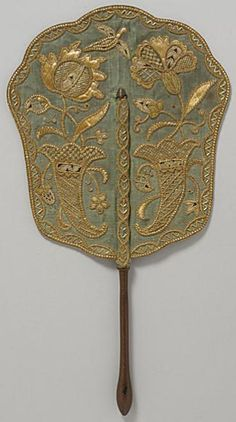 18th Century French Hand-Held Fire Screen.  Learn more about fire screens:    http://leahmariebrownhistoricals.blogspot.com/2011/03/tuesdays-titillating-treasure-hand-held.html