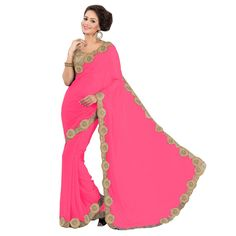 Party Wear Georgette Pink Saree - EBSFS16505
