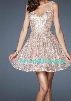 Sequin Prom Dress 2014, Ball Gown Spaghetti Straps V-neck Short/Mini Sequin Prom Dress Bridesmaid Dress