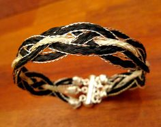 Horsehair bracelet, with sterling silver wires
