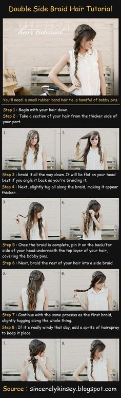 """Double Braid - Hair tutorial...i LOVE this look. but i cute """"most"""" of my long hair off, gotta wait a lil while till i can do this cute look."""