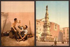Questa serie di stampe d'epoca cattura magnificamente il lato più semplice e idealista di Napoli nel 900. Dai pittoreschi porti agli splendidi scorci archi