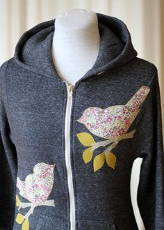 Bird Appliques on hoodie. Great idea for hiding stains & rips on children's clothes.
