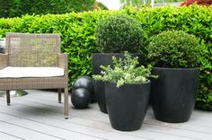 Set of three Terrazzo Planters for 2012 season. Contemporary Garden Furniture, Modern Fabric, Terrazzo, Natural Materials, Outdoor Spaces, Planter Pots, Inspiration, Beautiful, Outdoor Living Spaces