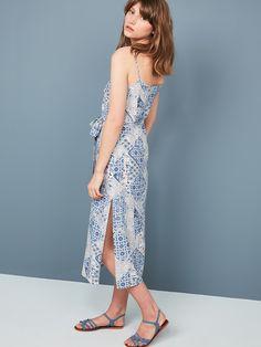 BLUE TILE PRINT SIDE SPLIT #DRESS