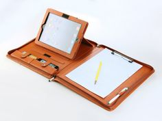 ipad portfolio case with pockets leather ipad carrying case cow