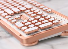 office decor I need this antique looking rose gold keyboard for my desk! Its one of the most beautiful keyboards Ive ever seen and would look perfect in my home office. Work Desk Decor, Gold Office Decor, Office Desk Decorations, White Office, Small Office, Office Desk Accessories, Pink Gold Office, Office Ideas For Work, Gold Office Supplies