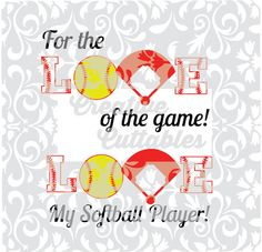 Softball  SVG Love for  Silhouette or other craft cutters (.svg/.dxf/.eps)