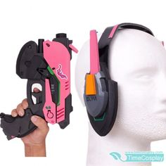 D.va Gun And Headset For Cosplay Pvc Pink D Va Gun Dva Headset Dva Earphone For Exhibition Costume Props Novelty & Special Use