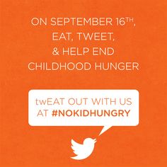Join us & spread the word about dining out to end child hunger! twEAT OUT 9/16 #momsfighthunger #nokidhungry