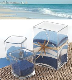BEACHY BLUE FAVORS OR TABLE DECORATIONS Other natural centerpiece ideas, cute for a wedding