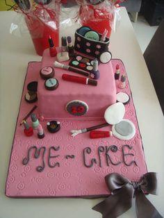"""""""Makyaj Malzemeleri"""" Temalı Butik Doğumgünü Pastası.! Make-up Birthday Cake.! Cosmetic Birthday Cake.!"""