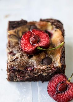 These cherry cheesecake swirl brownies are super rich and fudgy, filled with dark chocolate and fresh cherry, topped with a cherry cheesecake swirl.