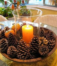 14 Easy DIY Fall Centerpieces - Need a centerpiece that takes less than five minutes to make? Just place pine cones in a large bowl and place a hurricane vase holding a candle in the middle. Thanksgiving Crafts, Holiday Crafts, Thanksgiving Table, Holiday Decorations Thanksgiving, Rustic Thanksgiving Decor, Decorating For Thanksgiving, Cheap Thanksgiving Decorations, Pine Cone Christmas Decorations, Easy Fall Crafts