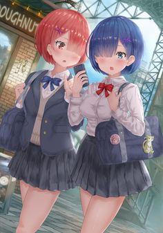 Kawaii Anime Girl, Anime Art Girl, Manga Art, Anime Girls, Ram Y Rem, Re Zero Reinhard, Kawaii Crush, Re Zero Rem, Light Blue Hair