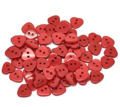 20 Heart Shaped  Resin Plastic Buttons Two Holes by SkullButtonry, $1.20