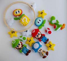 Hama Beads Minecraft, Perler Beads, Super Mario Nursery, Nintendo Decor, Mario Crafts, Art Hama, Baby Crib Mobile, Baby Boy Shower, Baby Shower Mario