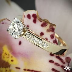 0.816ct A CUT ABOVE Diamond in 18k Yellow Gold Channel Set Diamond Engagement Ring