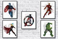 Avengers Art Set Superhero Watercolor Art Iron by gingerkidsart