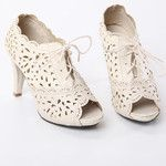 Peep Toe Lace-up Cutout Booties