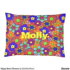 Hippy Retro Flowers Dog Bed - $96.40 - Hippy Retro Flowers Dog Bed - by #RGebbiePhoto @ #zazzle - #Flowers #Hippy #Retro - Colorful retro style flowers, hippy style in bright colors! Large petal flowers in a jumbled assortment. 70s Hippy look, great throwback item! Add your name or text to personalize for your favorite hippy!