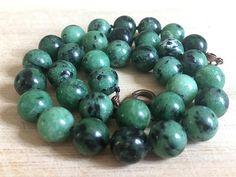 Zoisite Necklace Beaded Necklace Handmade Jewelry Crew-Neck