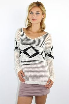 Ivory v-neck tribal pint knitted sweater http://enewstore.com/pink-crew-neck-over-sized-knitted-sweater-with-crotchet-clone-en.html