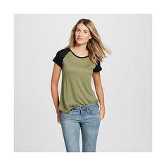 Women's Linen Raglan Tee Healthy Green/Ebony - Merona ($15) ❤ liked on Polyvore featuring tops, t-shirts, healthy green, green tee, green shirt, raglan sleeve shirts, green top and linen tee